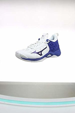 Mizuno Unisex Adult's Wave Momentum Volleyball Shoes, (Wht/10249c/Trueblue 21)