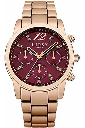 Lipsy London Women's Quartz Watch with Red Dial Analogue Display and Rose Alloy Bracelet LP461