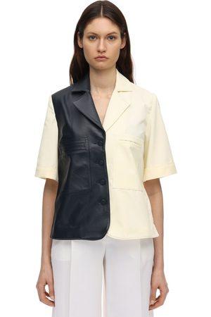 Rokh Cotton Canvas & Leather Shirt