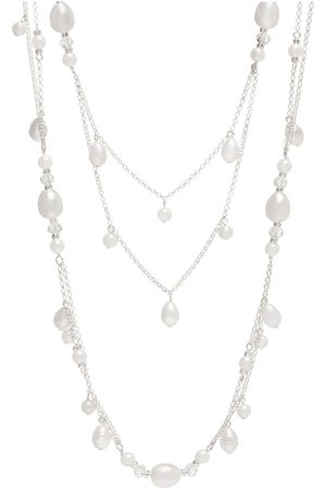 Moodstreet Silver Plated Mix Pearl Multirow Necklace