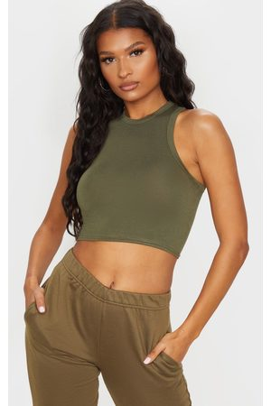 PRETTYLITTLETHING Women Crop Tops - Basic Khaki Jersey Racerback Crop Top