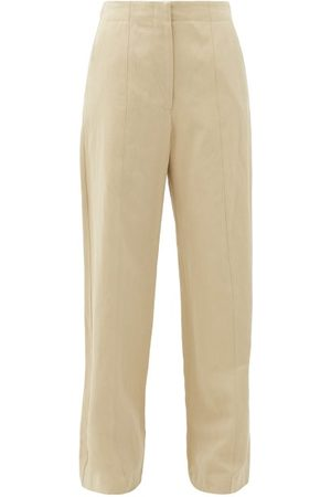 Raey Front-seam Cotton And Linen-blend Chino Trousers - Womens