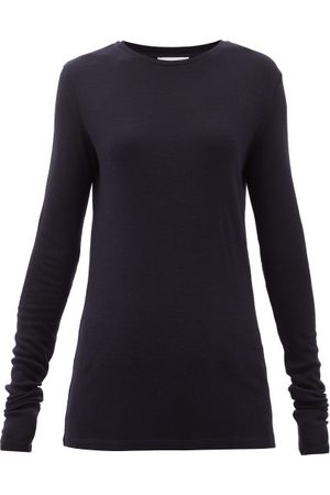 Raey Long-sleeved Organic-wool T-shirt - Womens - Navy