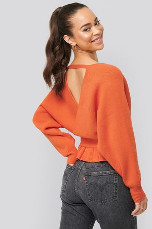 NA-KD Overlap Flounce Knitted Sweater - Orange