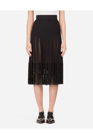 Dolce & Gabbana Skirts - LONG GEORGETTE SKIRT WITH LACE EDGINGS