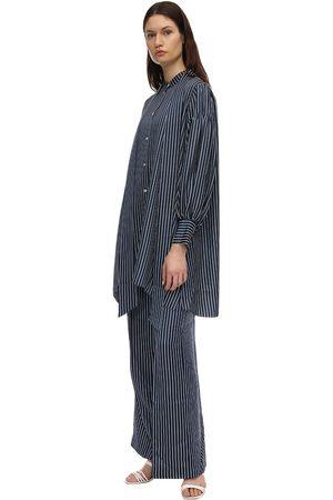 Rokh Striped Satin Midi Dress