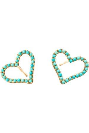ROSA DE LA CRUZ Turquoise Heart Studs Pair