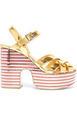 Miu Miu Women Sandals - Mirrored-platform Metallic-leather Sandals - Womens