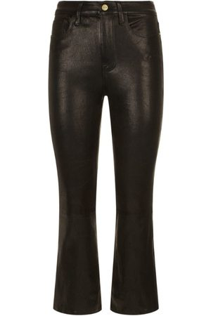 Frame Bootcut Leather Jeans