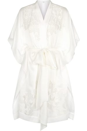 CARINE GILSON Silk Lace Trim Robe