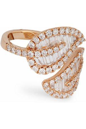 Anita Large Rose Gold and Diamond Leaf Ring