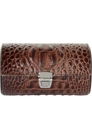 Gentili Small Crocodile-Effect Watch Roll Case