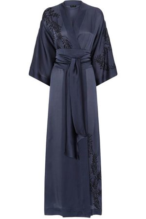 CARINE GILSON Silk Embroidered Long Robe