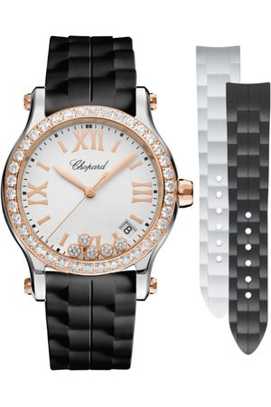 Chopard Women Watches - Rose and Stainless Steel Happy Sport Quartz Watch 36mm
