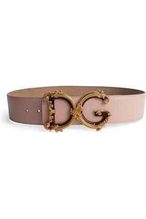 Dolce & Gabbana Leather Baroque Logo Belt