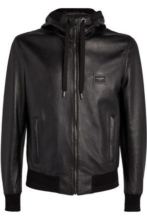 Dolce & Gabbana Leather Logo Plaque Jacket