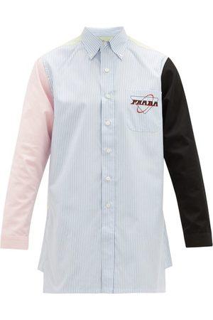 Prada Logo-print Contrast-panel Cotton-oxford Shirt - Mens - Multi