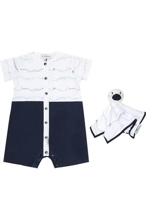 Emporio Armani Baby cotton playsuit and toy set