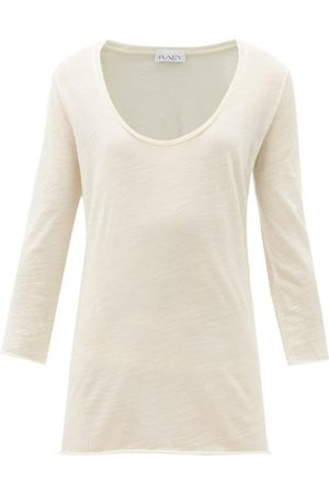 Raey Scoop-neck Wool-jersey T-shirt - Womens - Ivory