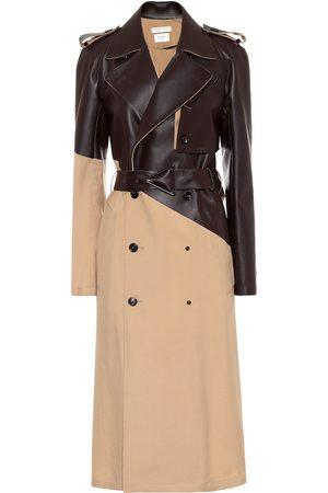 Bottega Veneta Leather and wool gabardine trench coat