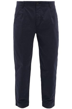 Folk Men Trousers - Assembly Cropped Cotton-twill Chino Trousers - Mens - Navy