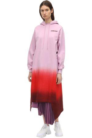 AMBUSH Hooded Logo Print Cotton Jersey Dress