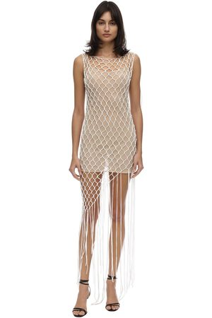 OFF-WHITE Asymmetric Cotton Blend Net Dress