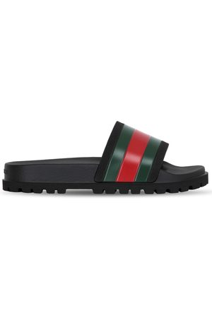 Gucci Web Striped Rubber Slide Sandals