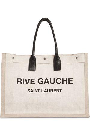 Saint Laurent Noe Logo Printed Canvas Tote Bag