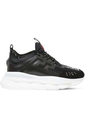 VERSACE Chain Reaction Mesh & Leather Sneakers