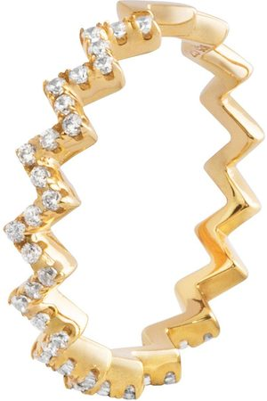 The Love Silver Collection 18Ct Plated Silver Cubic Zirconia Zig-Zag Ring