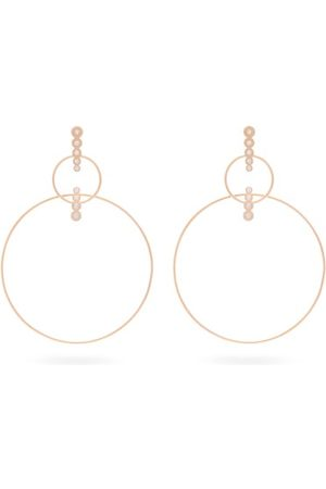 Diane Kordas Double Hoop Diamond & 18kt Rose Earrings - Womens - Rose