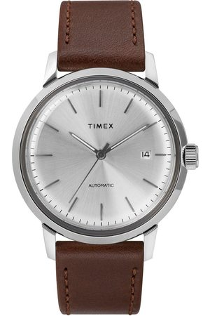 Timex Marlin Automatic 40Mm Case Silver Dial And Brown Leather Strap