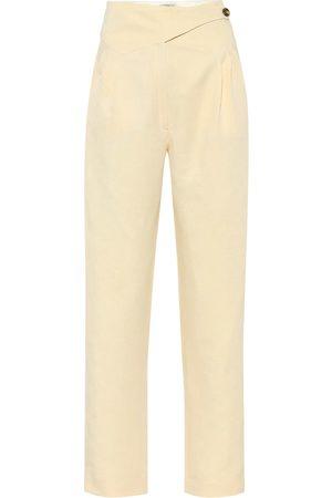 Blazé Milano Women Trousers - Basque linen and silk high-rise pants