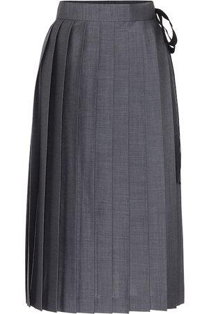 Prada Pleated mohair-blend wrap skirt