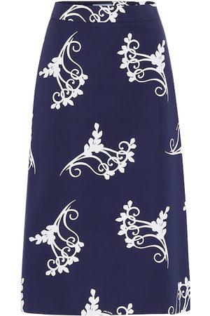 Prada Printed high-rise cotton midi skirt