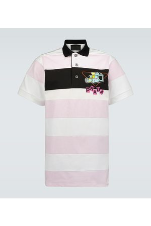 Prada Camera print striped polo shirt