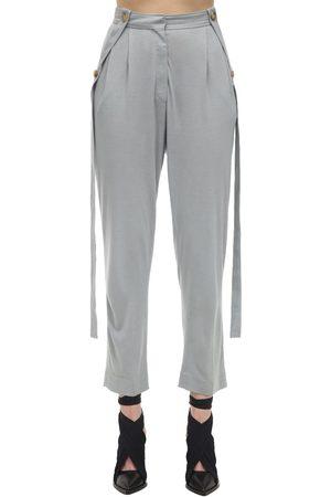 Burberry High Waist Pleated Jersey Pants