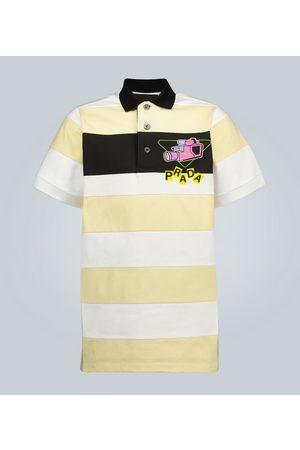 Prada Camera printed striped polo shirt