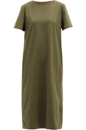 Moncler Press-stud Cotton T-shirt Dress - Womens - Khaki