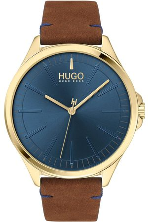 HUGO Smash Brown Leather Strap Blue Dial Mens Watch
