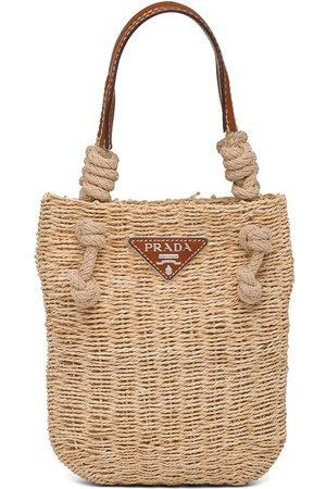 Prada Logo plaque braided tote bag