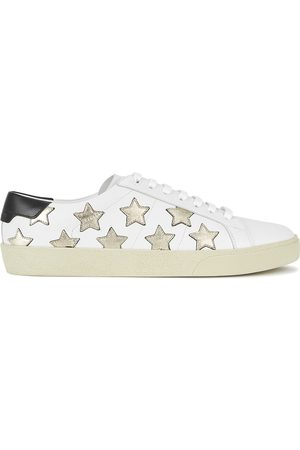 Saint Laurent Women Trainers - Court Star-appliquéd Leather Sneakers