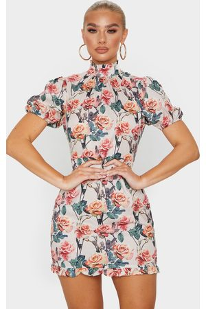 PRETTYLITTLETHING Nude Rose Print High Neck Short Sleeve Bodycon Dress