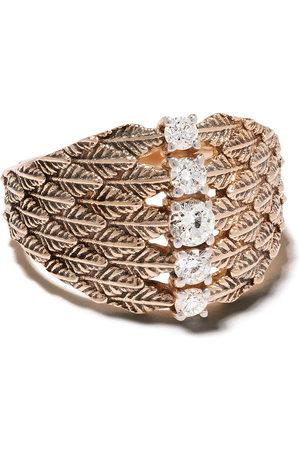 Milka 14kt rose leaf diamond embellished cocktail ring