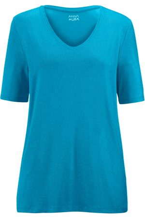 Anna Aura V-neck top turquoise size: 14