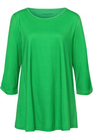 Green Cotton Long top 3/4-length sleeves size: 12
