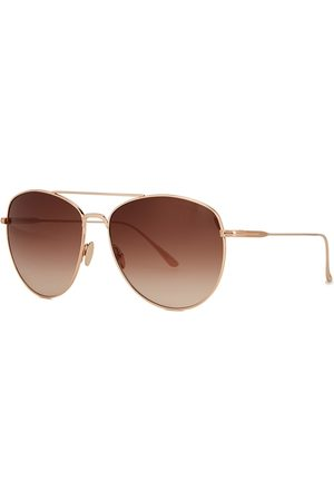 Tom Ford Milla Rose Gold-tone Aviator-style Sunglasses