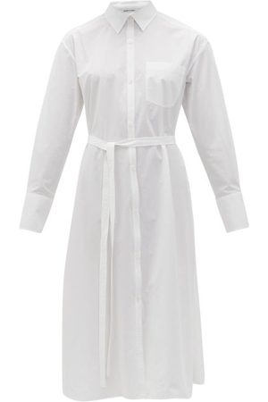 Another Tomorrow Belted Cotton-poplin Shirtdress - Womens
