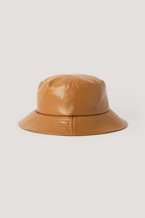 NA-KD Faux Leather Bucket Hat - Brown